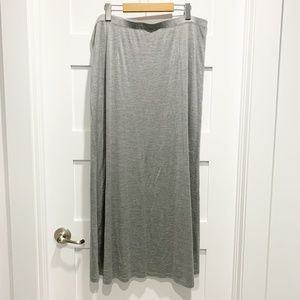 Eileen Fisher Grey Silk-Cotton Straight Maxi Skirt